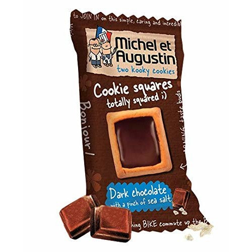 Michel et Augustin Chocolate French Cookie Bulk Mini Squares | Dark Chocolate Sea Salt Pure Butter Shortbread | 180 Count [Dark Chocolate Sea Salt]