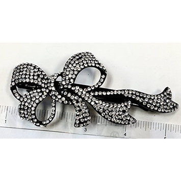 Crystal Hair Barrette With Black Color Metal Clip