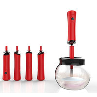 TJ.MOREE Electric Makeup Brush Spinner With 8 Silicone Collars - Wash and Dry in Seconds Version 3.0 (Red)