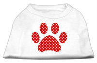 Mirage Pet Products 51-107 SMWT Red Swiss Dot Paw Screen Print Shirt White S - 10