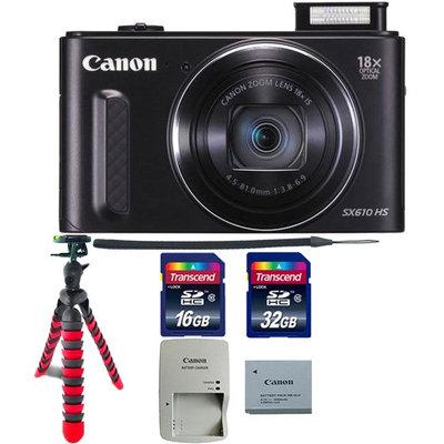 Canon PowerShot SX610 HS 20.2MP 18x Optical Zoom Wifi Digital Camera with Tripod & 48GB Memory Card Black