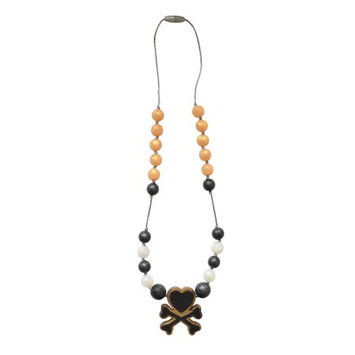 Itzy Ritzy Teething Happensâ ¢ tokidoki Teething Necklace, Love, Black/Gold