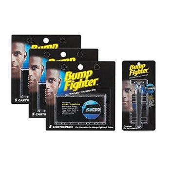 Bump Fighter Set: 1 Razor Handle with 17 Refill Blades + FREE LA Cross 71817 Tweezer