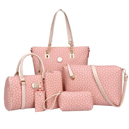 Coofit 6 Pieces Purses and Handbags Faux Leather Shoulder Bags Deluxe Cross Body Pouch Wallets for Women Ladies