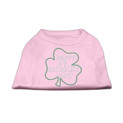 Mirage Pet Products 5236 MDLPK Happy St. Patricks Day Rhinestone Shirts Light Pink M 12
