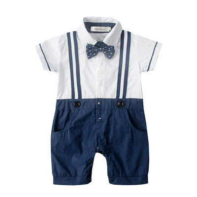 StylesILove Baby Boy Dotted Bowtie Faux Suspenders Tuxedo Romper (12-18 Months) [baby_clothing_size: baby_clothing_size-12-18months]