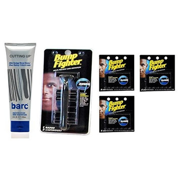 Barc Cutting Up, Unscented Shave Cream, 6 Oz + Bump Fighter Razor for Men + Bump Fighter Cartridge Refill, 5 Ct (Pack of 3) + FREE LA Cross 71817 Tweezer