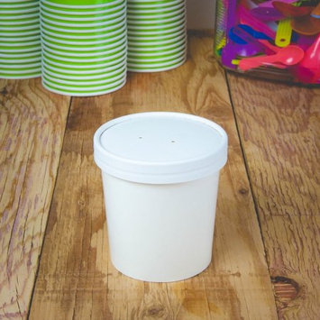 Frozen Dessert Supplies White Paper Ice Cream Containers Half Pint 16 oz - Frozen Dessert Containers With Lids - Heavy Duty Freezer Containers for Storage! 25 Count