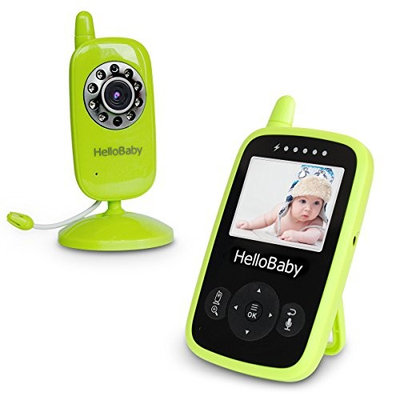 HelloBaby HB24 Wireless Video Baby Monitor Security Camera with Two-Way Talking System Infrared Night Vision & Temperature Monitoring, Lullabies,Green