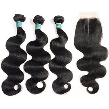 ALI GRACE Brazilian Body Wave Unprocessed Remy Human Hair Extensions 3 Bundles with 4x4 Lace Closure Natural Black Color (14