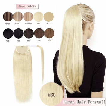 100% Remy Human Hair Ponytail Extension Wrap Around One Piece Hairpiece With Clip in Comb Binding Pony Tail Extension For Girl Lady Women Long Straight #60 Platinum Blonde 16'' 80g