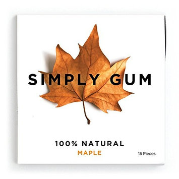 Simply Gum, Natural Vegan Chewing Gum, Maple, 15 Count, Pack of 6 [Maple]