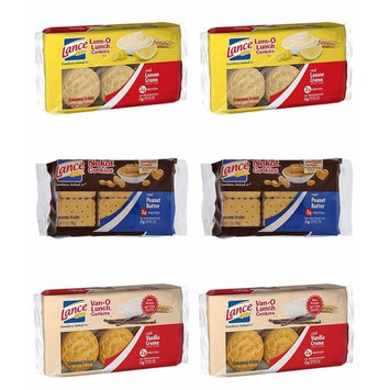 Variety Lance Cookies, Vano-O (Vanilla), Lem-O (Lemon) and Nekot Peanut butter, 6 Packs of 6 Individual 4-packs, Total 36 Individual Packs