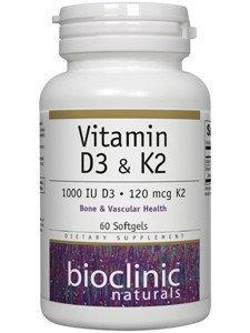 Vitamin D3 & K2 60 gels by Bioclinic Naturals