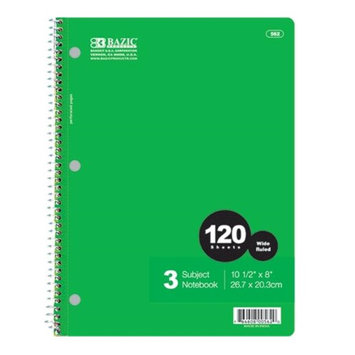 BAZIC 3-Subject Spiral Notebook