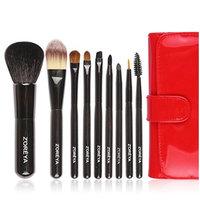 Z'oreya 9pcs red color Natural hair makeup brushes for women Cosmetic tool powder brush foundation brushes set