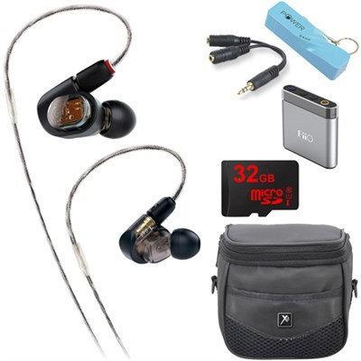 Audio-Technica ATH-E70 Professional In-Ear Monitor Headphone E6 Portable Amplifier Bundle