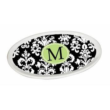 Ceramic Soap Dish, Damask Monogram M