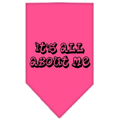 Mirage Pet Products 6644 SMBPK Its All About Me Screen Print Bandana Bright Pink Small