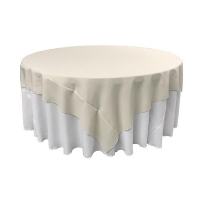 LA Linen TCpop90x90-IvoryP25 Polyester Poplin Square Tablecloth Ivory - 90 x 90 in.