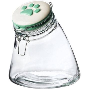 Global Amici Pet Paw Rainbow Slope Hermetic Glass Storage Jar, Green