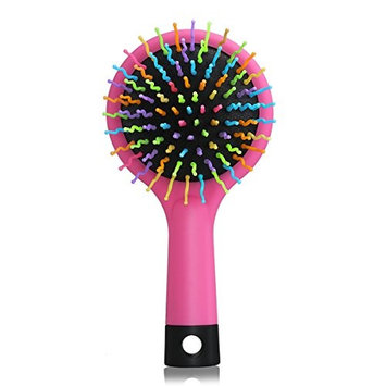 LEORX Detangling Hair Brush Rainbow Volume Brush Magic Hair Curl Straight Comb Brush with Mirror (Pink)