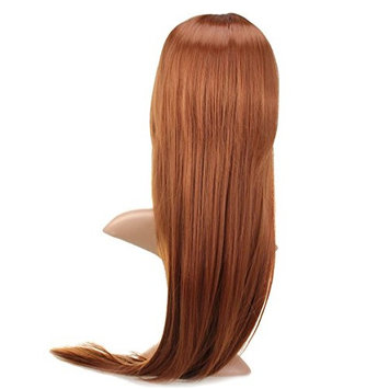 Womens Neat Bang Long Straight Hair Wigs Full Wigs by superjune