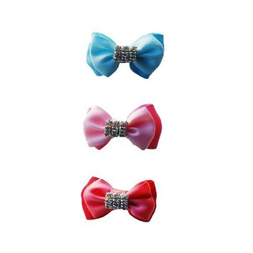 Dog Barrette Bow with Rhinestones - Pink, Blue, or Red [6 per pack]
