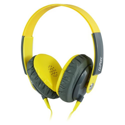 Cliptec Yellow Clubz Muisc Stereo 3.5mm Wired Volume Control Headset Earphone On Ear Headphone w/Mic