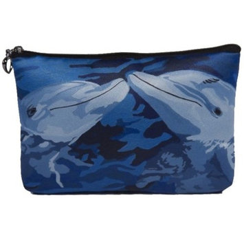 Dolphins Cosmetic Bag, Zip-top Closer - Taken From My Original Paintings (Dolphins - The Kiss)