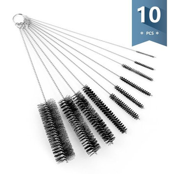 Sweese Cleaning Brush with Nylon Bristles - Great for Glass Bottles, Reusable Straws, Sippy Cup, etc. - 10 Pieces, 8 inch Long, Black