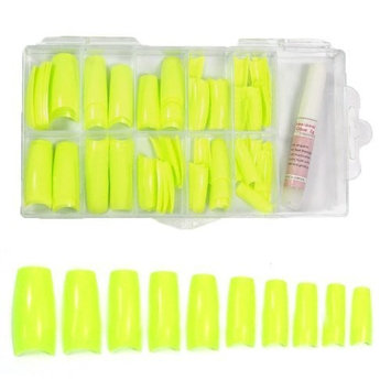 Colored French Nail Tips with Tip Box & Glue (100pcs) - Sharp Yellow CODE: #442E