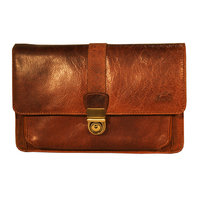 Mancini Leather Vegetable Tanned Top Grain Buffalo Leather Unisex Bag With Front Organizer, Brown, 10