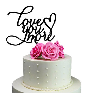 Sugar Yeti Love You More Heart Unique Wedding Cake Topper Solid Black Monogram calligraphy Made From Food Grade Acrylic Designed and Manufactured in California USA Free Shipping