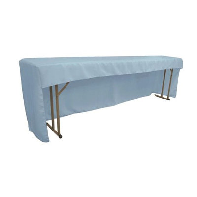 LA Linen TCpop-OB-fit-96x18x30-BlueLgtP18 Open Back Polyester Poplin Fitted Tablecloth for Classroom Tables Light Blue