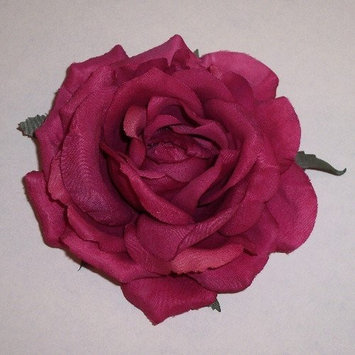 Diana Rose Artificial Flower Hair Clip/Pin Brooch, Dark Fuchsia