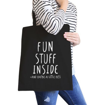 365 Printing Inc Fun Stuff Inside Black Canvas Bag Gifts For Best Friend Tote Bags