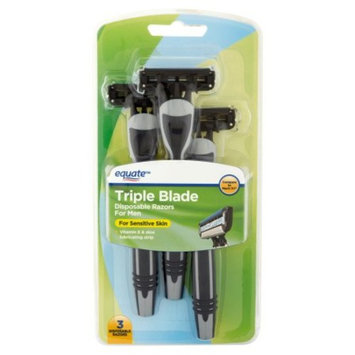 Equate Triple Blade Disposable Razors for Men, Sensitive Skin, 3 Ct