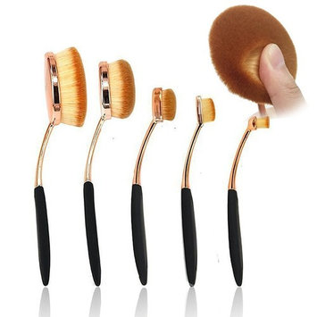 BeautyCoco 5 Pcs Oval Makeup Brush Set Professional Foundation Contour Concealer Blending Cosmetic Brushes (Rose Gold Black)