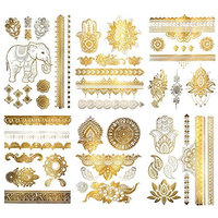 Metallic Henna Mandala Temporary Tattoos - Over 75 Designs (6 Sheets) Fake Shimmer Jewelry Inspired Mehndi Gold and Silver Terra Tattoos Maya Collection