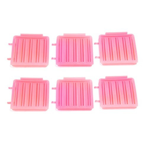 uxcell 6 Pcs Pink Plastic Hairdressing Home DIY Styling Wavy Curly Curler Clip Tool Set