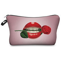 Vigourtrader Retro Toiletry Bag For Women Pencil Pouch Flat Cosmetic Makeup Bag Designer []