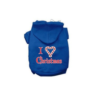 Mirage Pet Products I Heart Christmas Screen Print Pet Hoodies Blue Size XXXL (20)