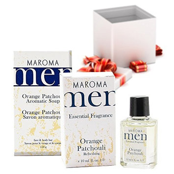 Maroma Men Aromatic All Natural Face and Body Deluxe Gift Set Orange Patchouli