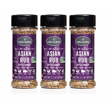 Fire & Flavor Natural Asian Rub, 3.1 Ounce, Pack of 3 [Asian]