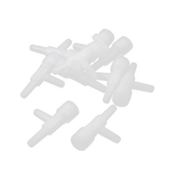 10 Pcs White T Design 2 Ways Air Valve Water Hose Tube Connector for Aquarium