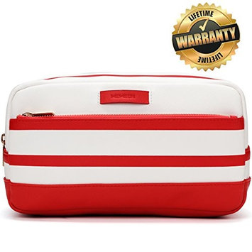 Womens Toiletry Bag - Leather Travel Makeup Cosmetic Organizer Case for Women