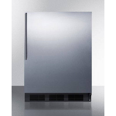 SUMMIT ADA compliant built-in undercounter refrigerator-freezer with stainless steel door, black cabinet, and thin handle