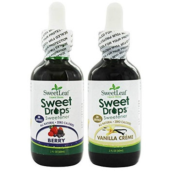 SweetLeaf Berry Sweet Drops Liquid Stevia and Vanilla Creme Sweet Drops Liquid Stevia Bundle with Organic Stevia Leaf Extract, Vanilla Extract, and Strawberry and Berry Concentrates, 2 oz. each