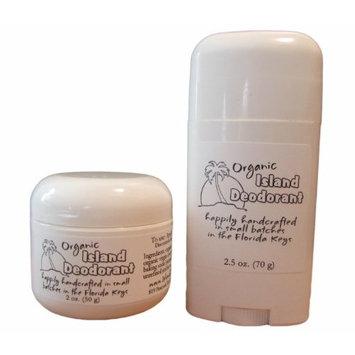 Organic Island Deodorant, 2 Pack, Probiotic Deodorant Stick, Natural, Aluminum-free, Unscented, Vegan (Two Sticks)